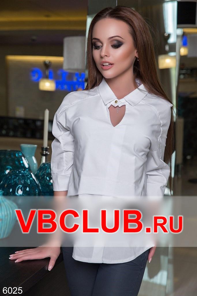 Белая блузка с золотой пуговицей FN-6025