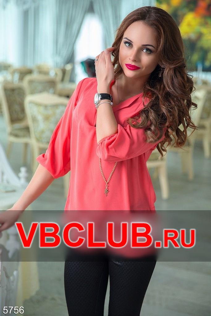 Летняя блузка кораллового цвета с рукавом 3/4 FN-5756