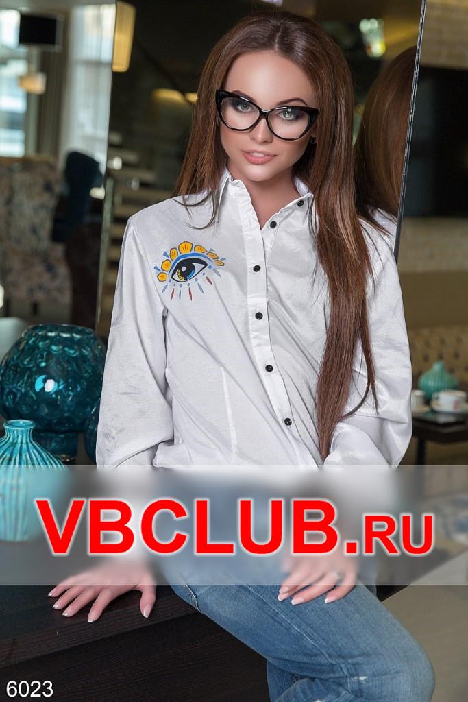 Белая блузка с рисунком глаза на груди FN-6023