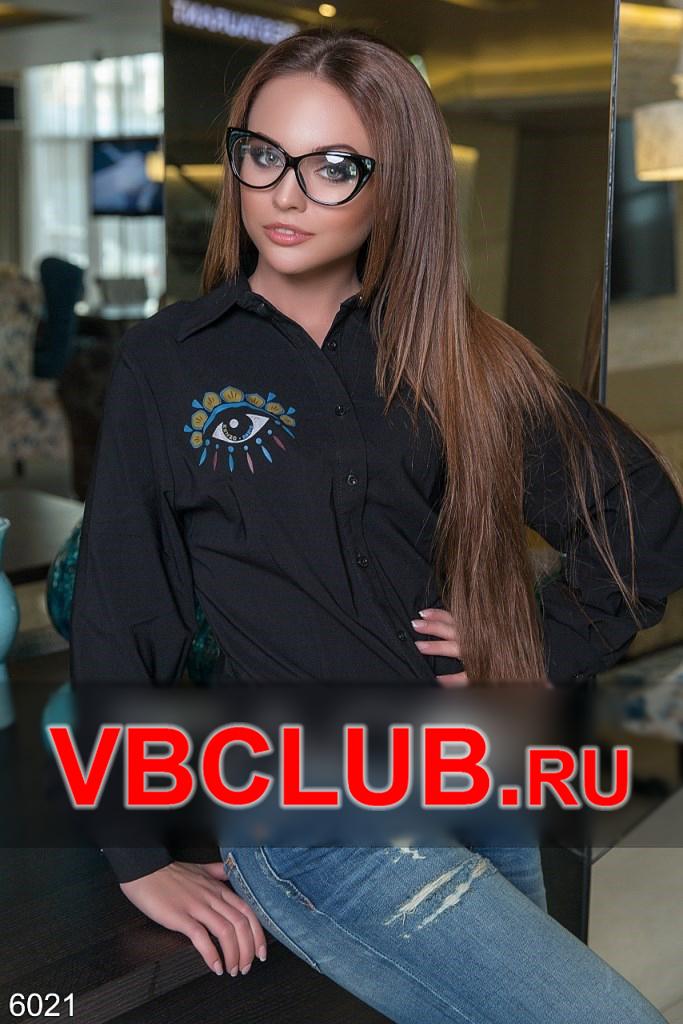 Женская блузка с принтом глаза над карманом FN-6021