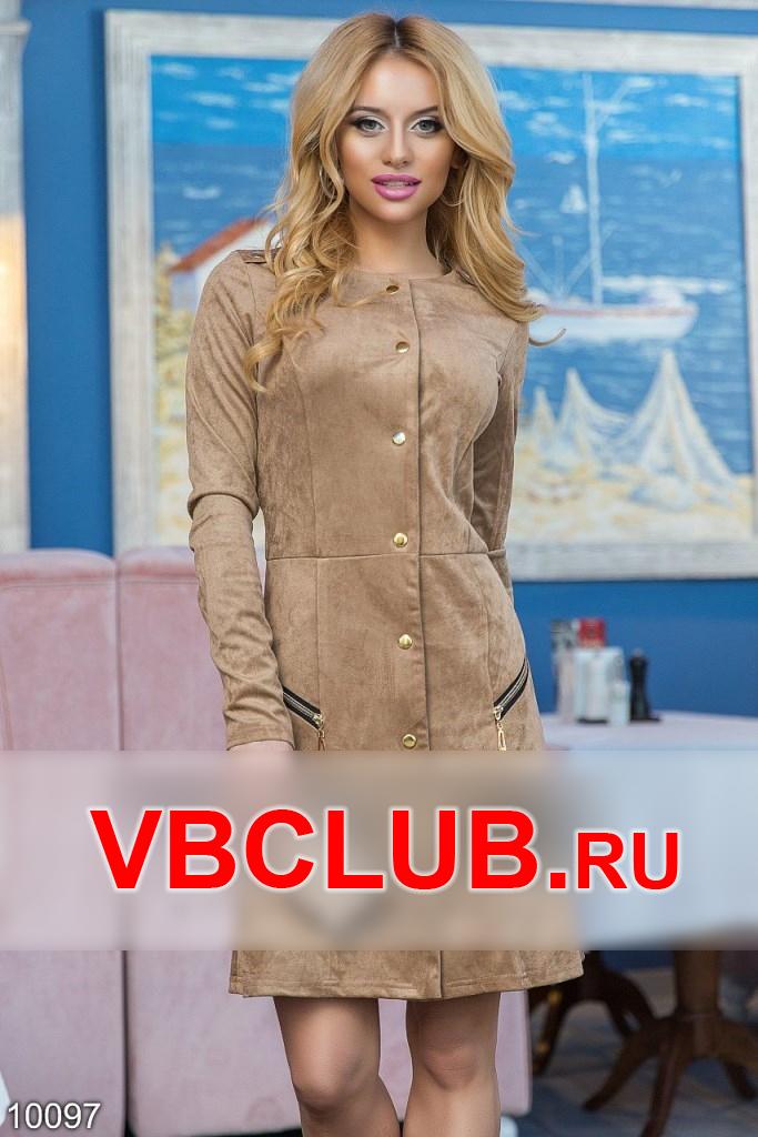 Платье в замшевом стиле на кнопках FN-10097