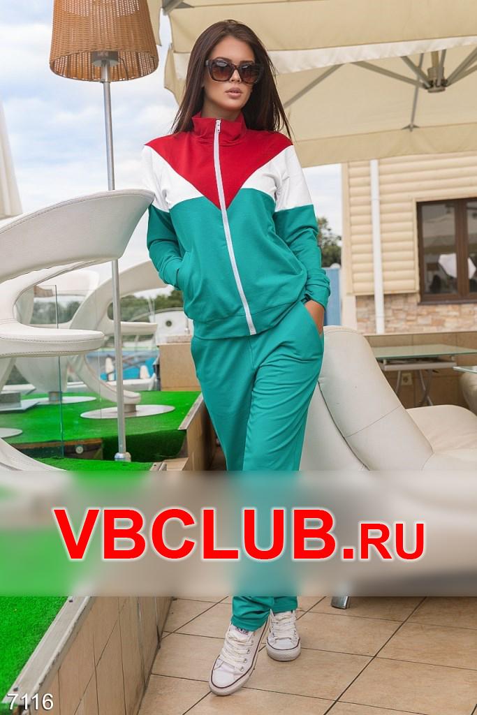 Бирюзовый спортивный костюм на молнии FN-7116