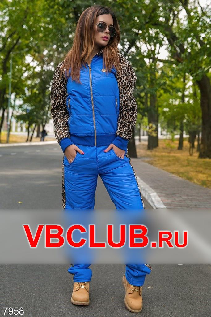 Теплый костюм с вставкой леопард FN-7958