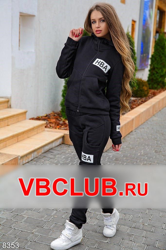 Черный утепленный костюм с принтом FN-8353