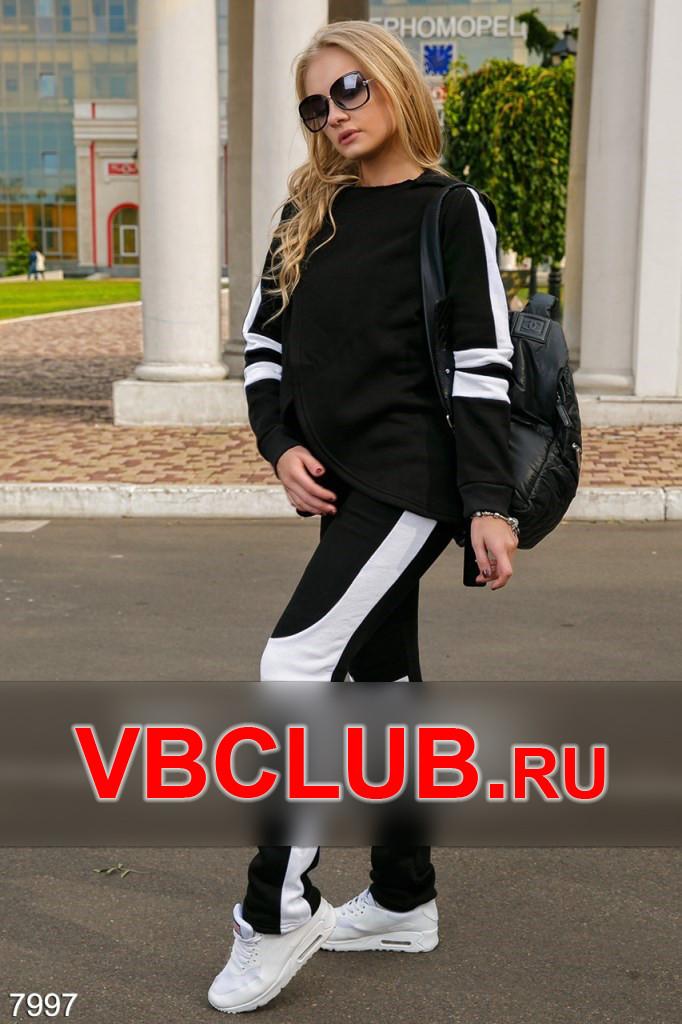 Черно-белый спортивный костюм двойка FN-7997