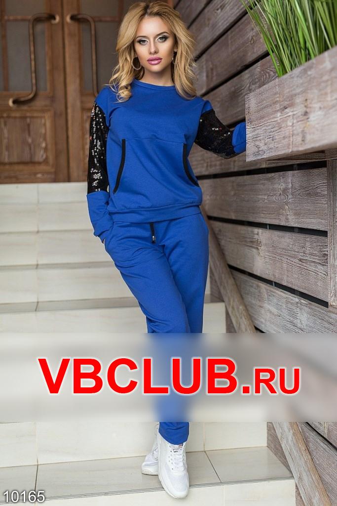 Спортивный костюм с карманами и паетками FN-10165