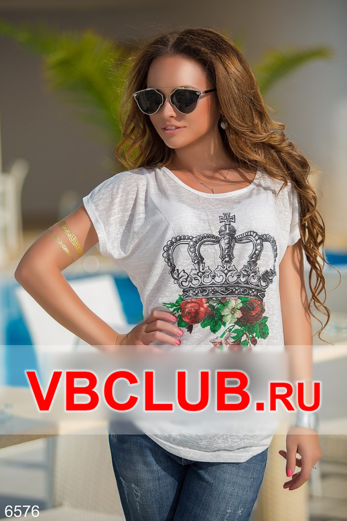 Летняя футболка с рисунком короны FN-6576