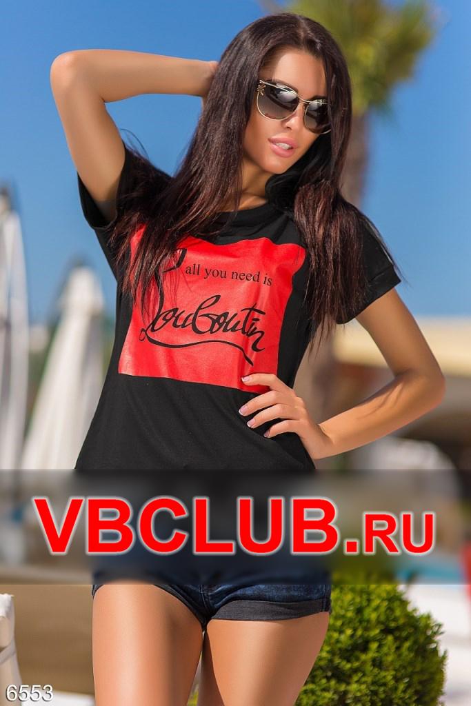 Черная футболка лабутен на красном принте FN-6553