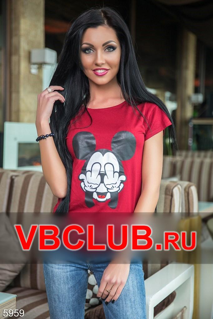 Темно-красная футболка с микки-маусом FN-5959