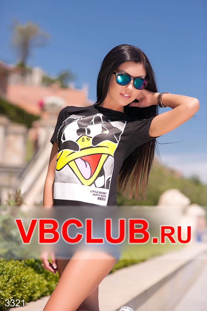 Черная женская футболка с принтом утки FN-3321