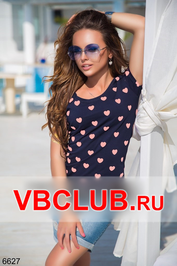 Синяя футболка с розовыми сердечками FN-6627