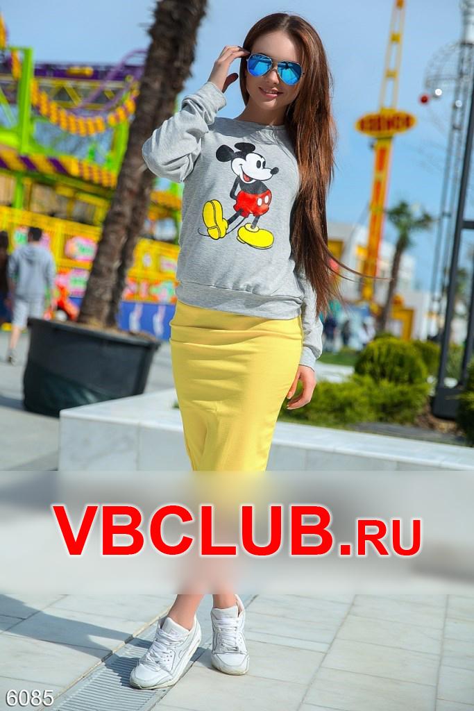 Костюм свитшот и юбка с карманами FN-6085