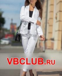 Белый строгий брючный костюм FN-4079