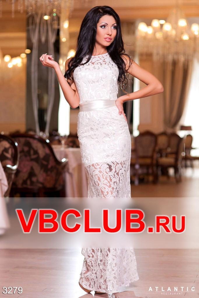 Белое длинное вечернее платье из гипюра FN-3279