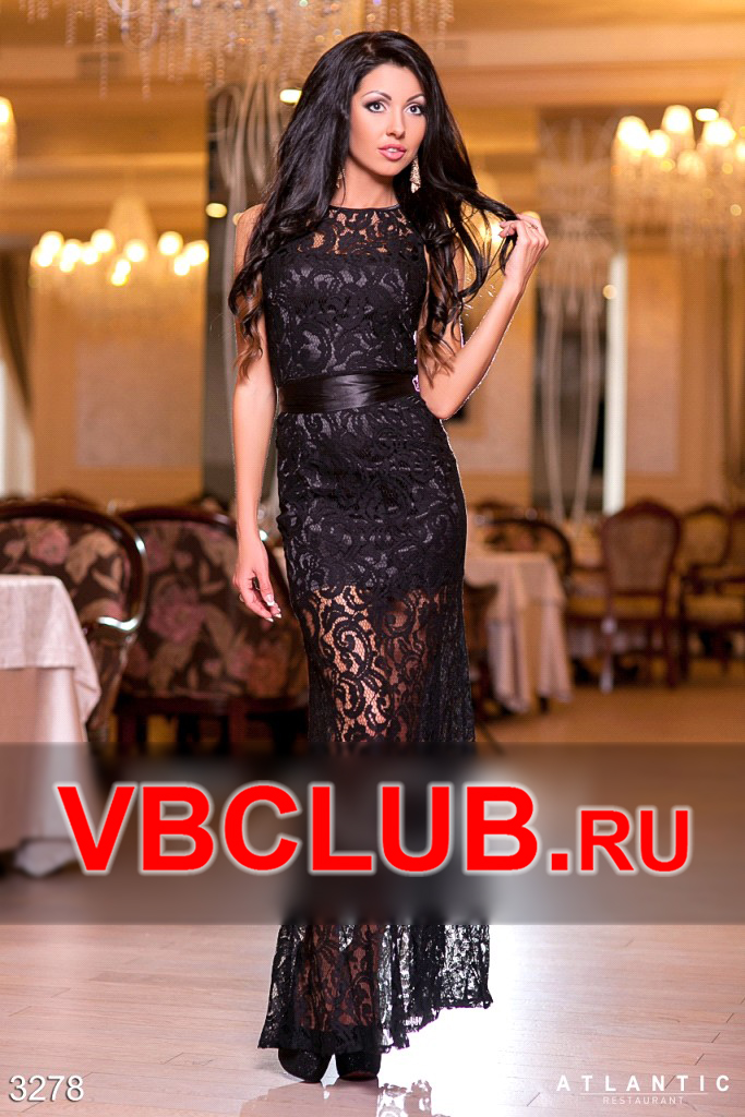 Черное длинное гипюровое платье FN-3278