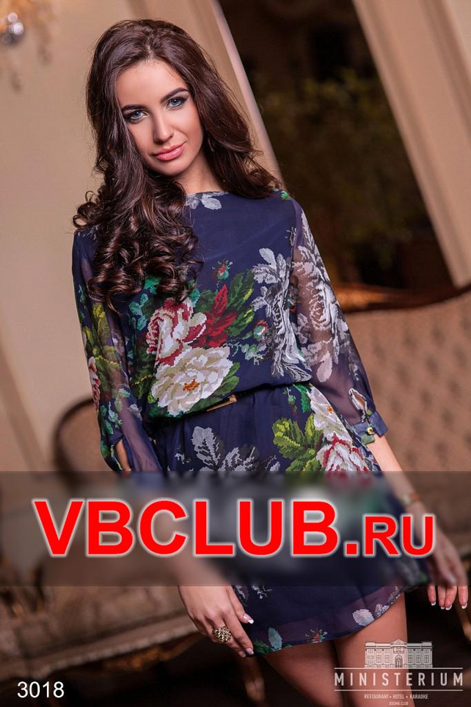 Летнее шифоновое платье с принтом цветов FN-3018