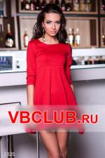 Красное однотонное платье свободного покроя FN-2025