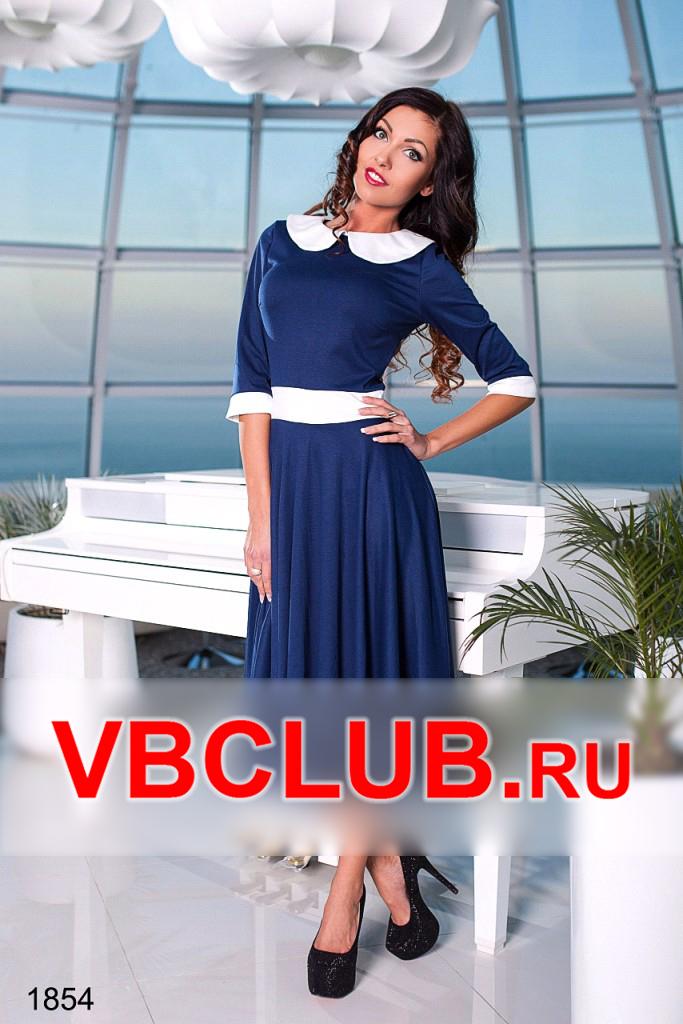 Синее платье ниже колена с юбкой солнце FN-1854