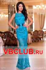 Гипюровое платье в пол голубого цвета FN-3277