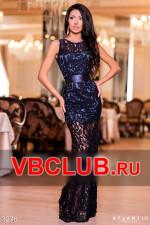 Темно-синее гипюровое платье в пол FN-3276