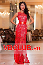 Длинное гипюровое платье красного цвета FN-3275