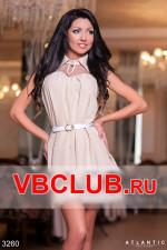 Летнее бежевое платье с пышной юбкой FN-3260