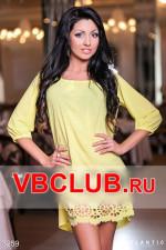 Желтое широкое платье с вырезом цветов FN-3259