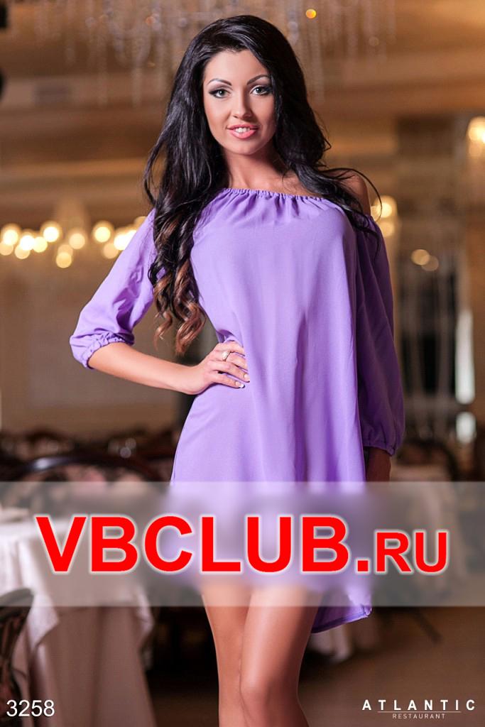 Фиолетовое платье мини свободного покроя FN-3258