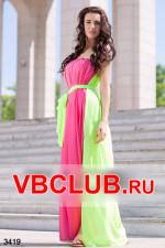Платье макси розового с салатовым цветом FN-3419
