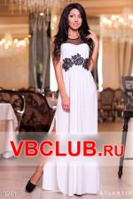 Белое вечернее платье с черными вставками FN-3281