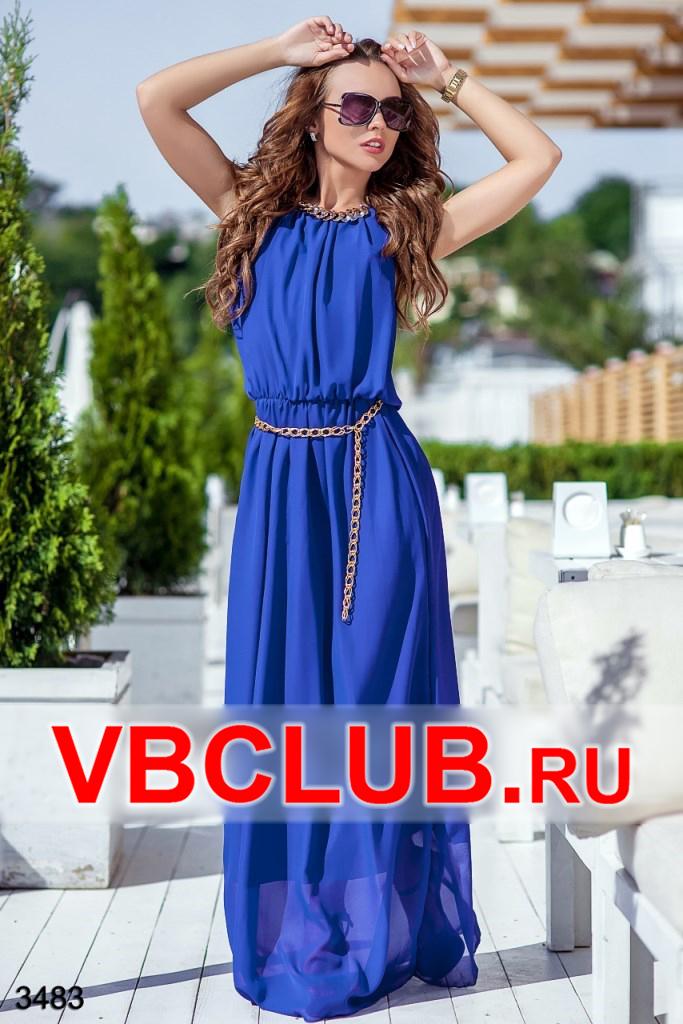 Летнее платье в пол цвета электрик с цепочкой FN-3483