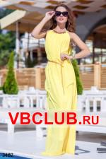 Желтое длинное платье из шифона с поясом FN-3482