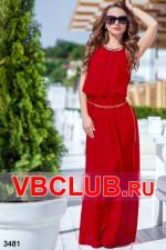 Красное летнее платье в пол с поясом FN-3481
