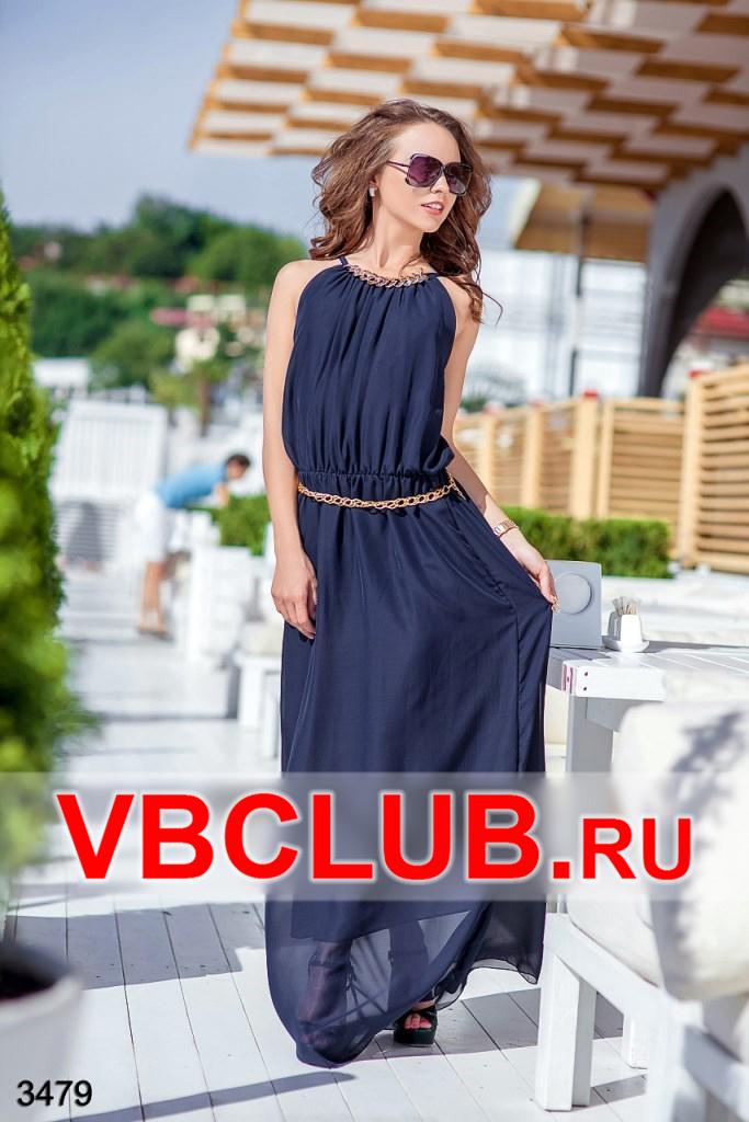 Синее платье с золотой цепочкой FN-3479