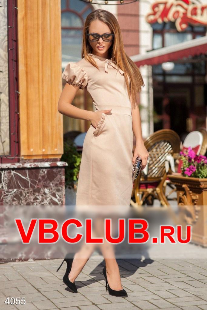 Классическое платье миди бежевого цвета FN-4055