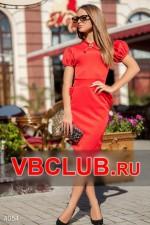 Однотонное деловое красное платье FN-4054