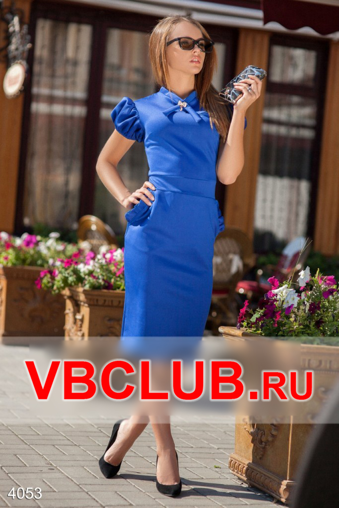 Синее платье с плечиками фонариками FN-4053