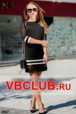 Платье с вставкой кружева и полосами FN-3997