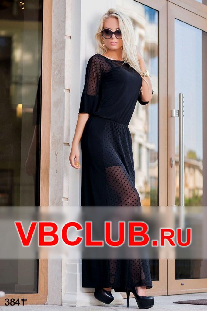 Черное платье макси из сеточки с подкладкой FN-3841