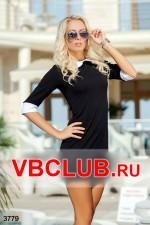 Черное платье мини с белым воротничком FN-3779