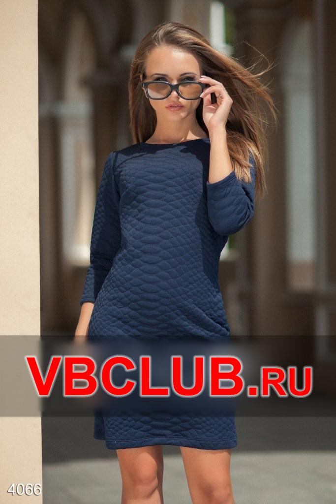 Синее стеганное платье с длинным рукавом FN-4066
