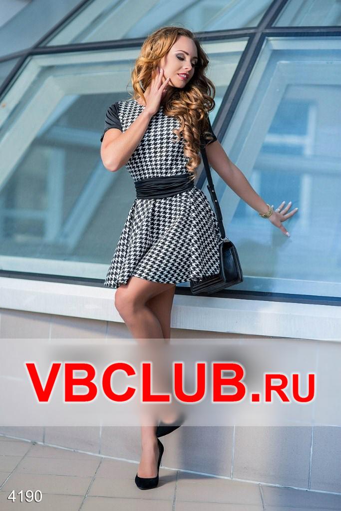 Короткое платье с кожаным черным поясом FN-4190