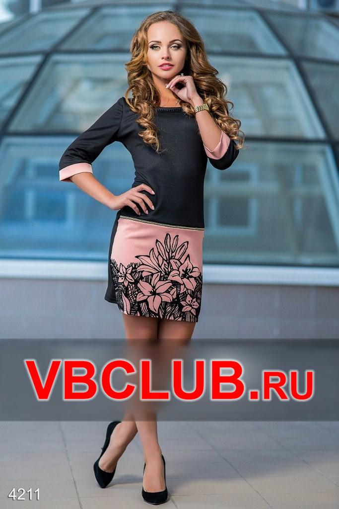 Черное платье с рисунком цветов FN-4211