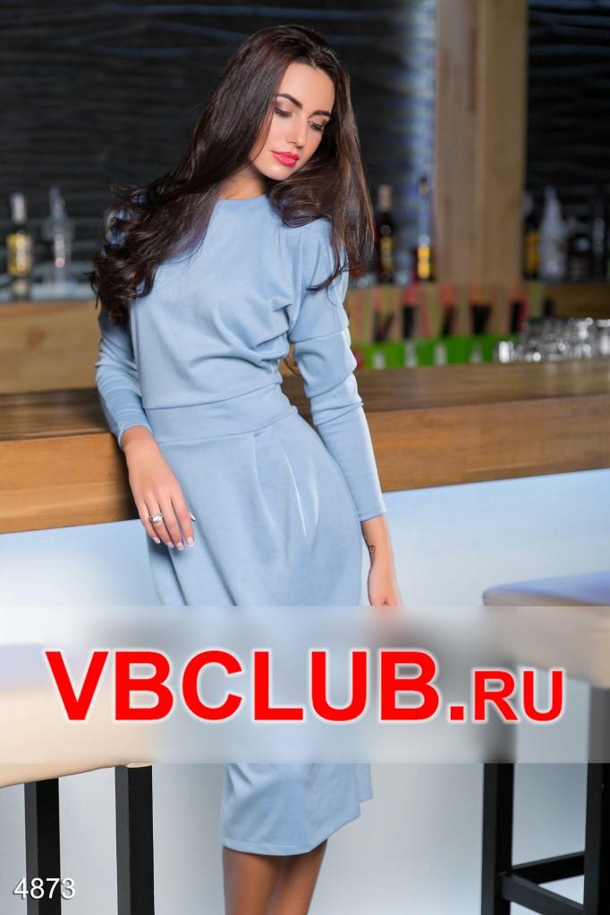 Небесно-голубое платье миди с рукавом FN-4873