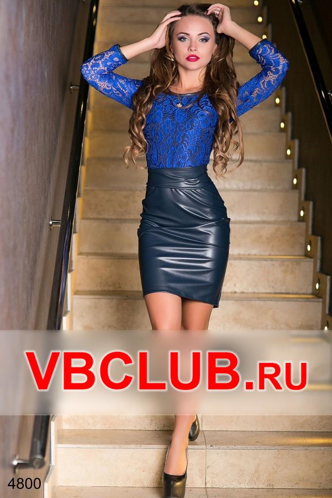 Платье с гипюровым верхом и кожаной юбкой FN-4800