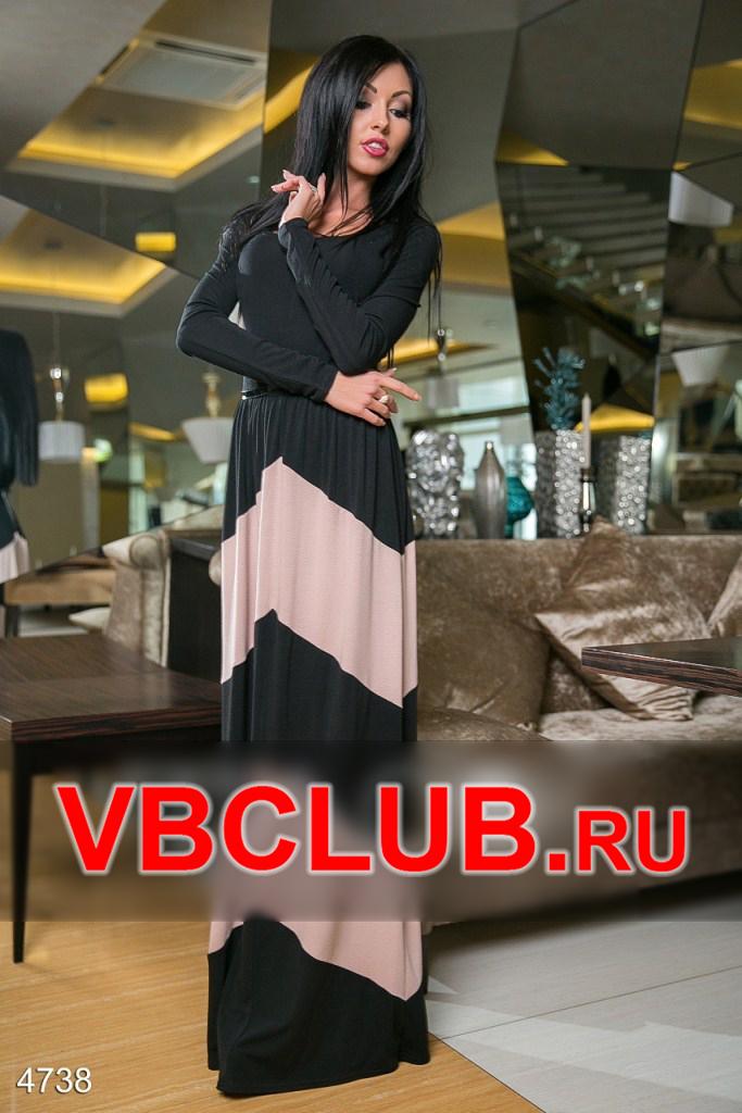 Черное платье в пол с длинными рукавами FN-4738