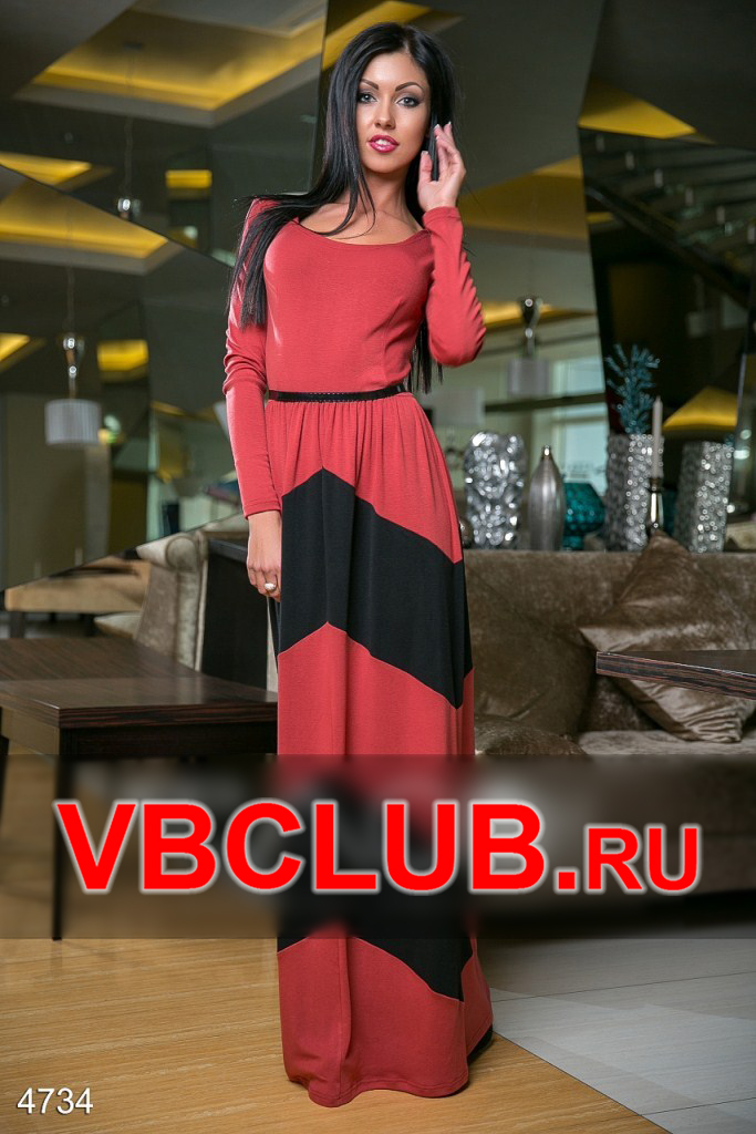 Красное платье в пол с широкими полосами FN-4734