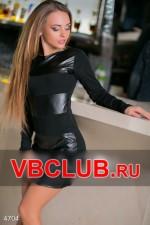 Платье черного цвета с кожаными полосами FN-4704