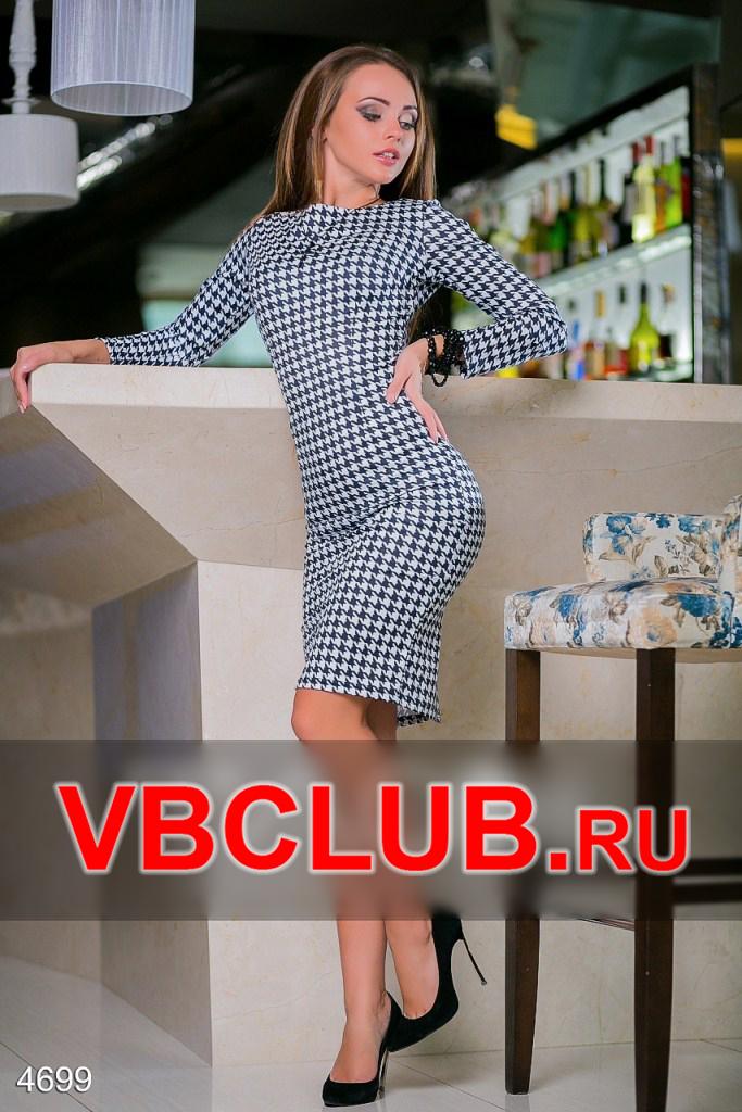 Приталенное платье миди в гусиную лапку FN-4699