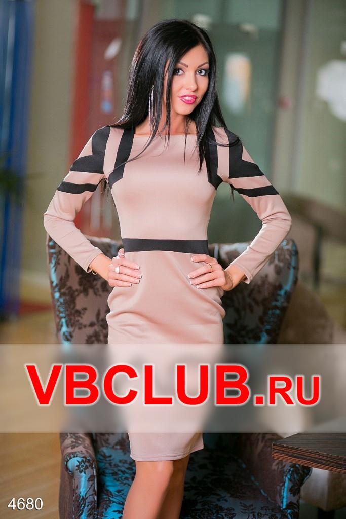 Бежевое платье с черными полосами FN-4680